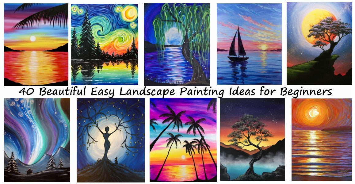 40 Easy Modern Painting Ideas for Beginners, Easy Landscape Painting Ideas, Simple Acrylic Painting Ideas for Beginners, Easy Canvas Painting Ideas