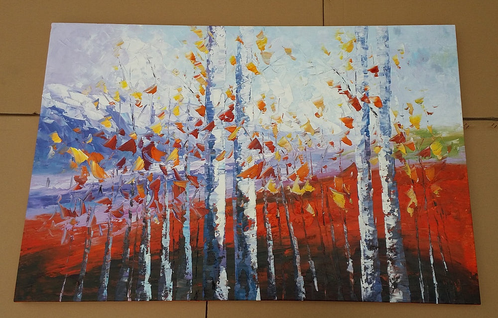 Autumn Birch Tree Painting in heavy texture oil paint