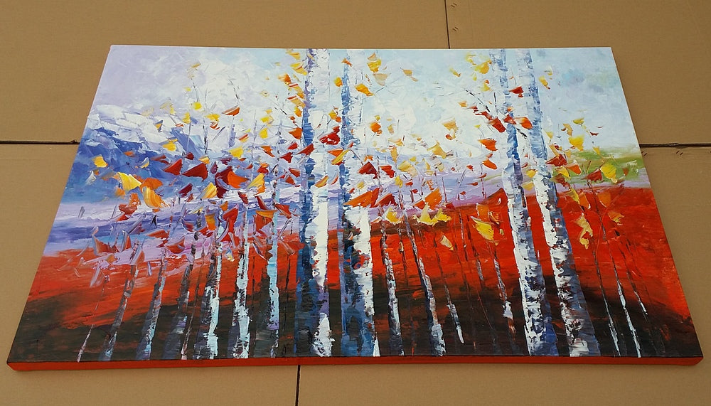 autumn birch tree painting, landscape painting, oil on canvas