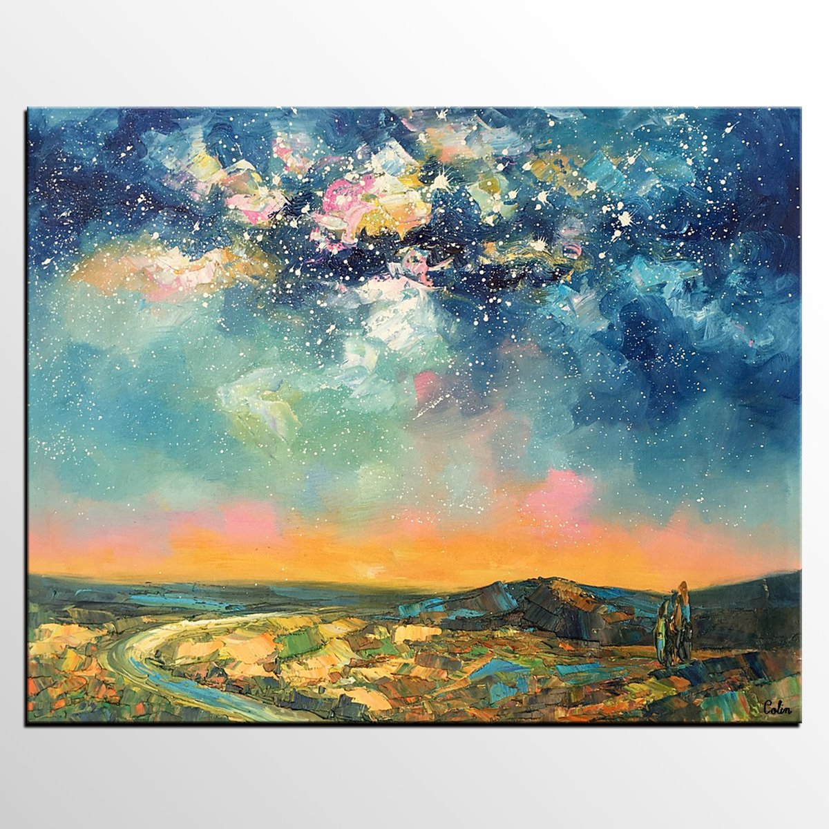 starry night sky painting, abstract landscape painting from artworkcanvas