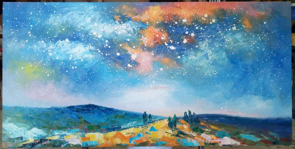 starry nigh sky painting, oil painting on cavas