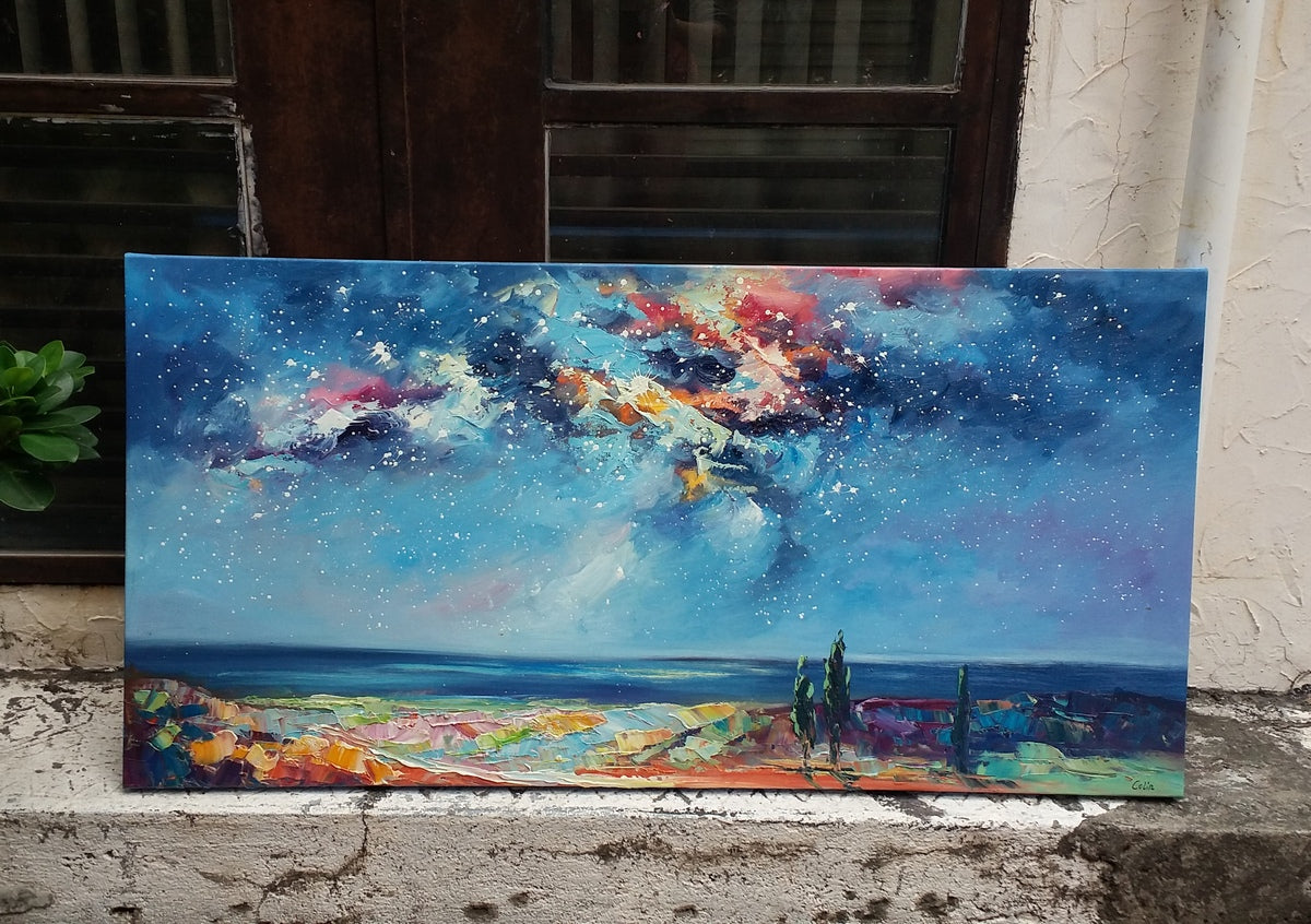 Beautiful Starry Night Painting, Night Sky Paintings, Original Landscape Art, Hand Painted Wall Art for Bedroom