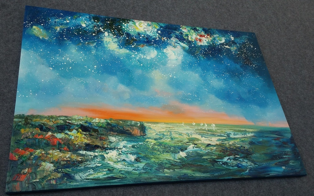 Night Sky Painting, Oil Painting on Canvas, Large Landscape Painting for Living Room, Seascape Paintings, Starry Night Sky, Original Paintings