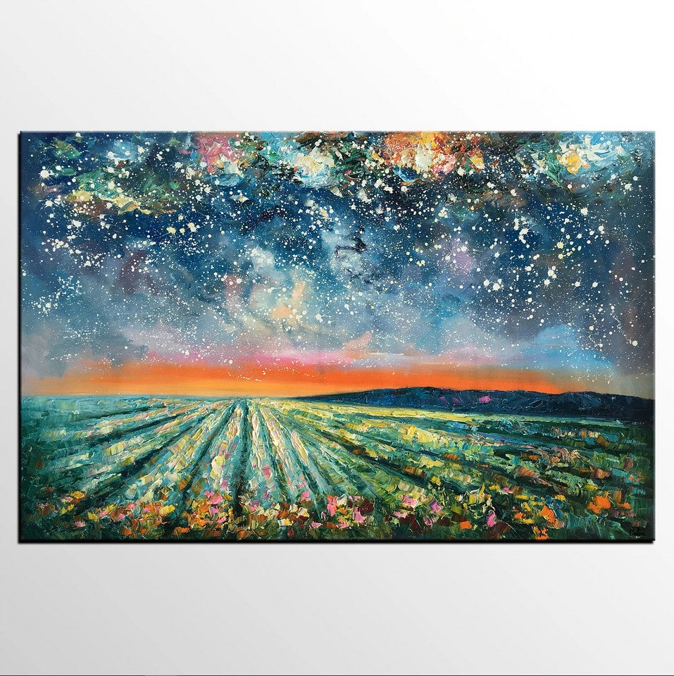 Starry Night Painting, Original Landscape Wall Art, Heavy Texture Art Painting, Contemporary Art