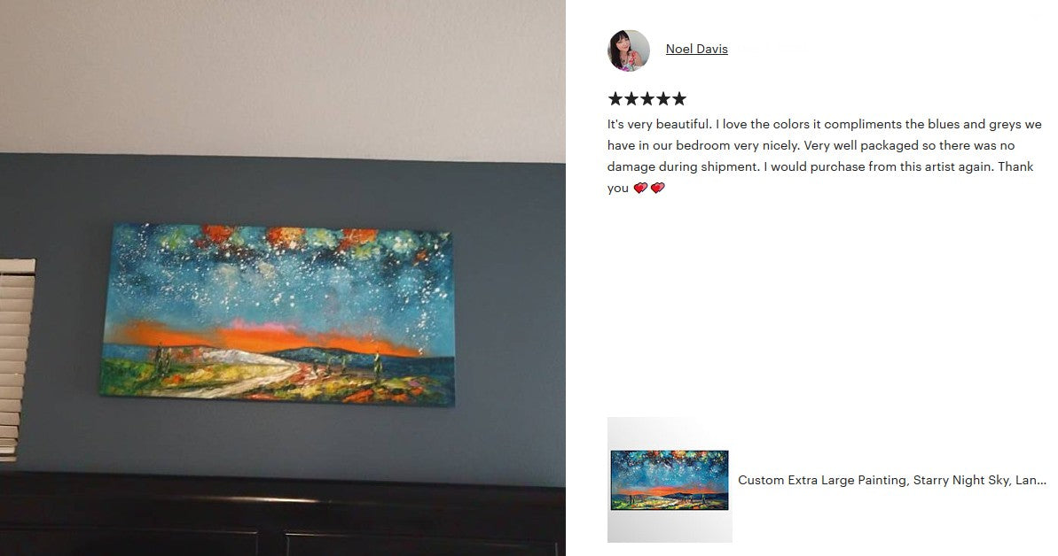 Starry Night Sky Painting, Original Oil Painting, Landscape Painting, Heavy Texture Art