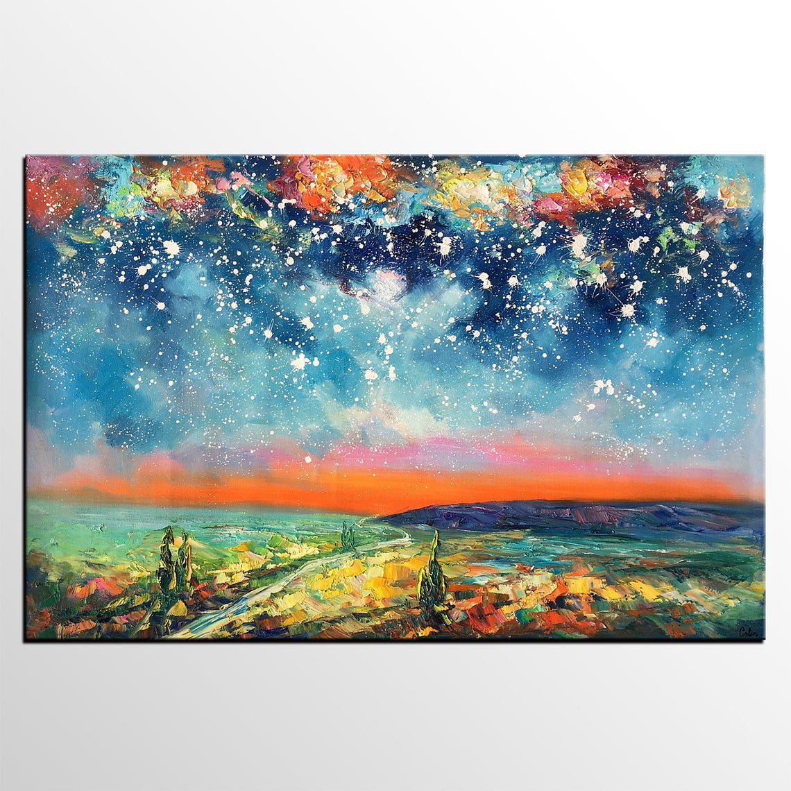 Night Sky Painting, Heavy Texture Painting, Hand Painted Art, Original Landscape Painting