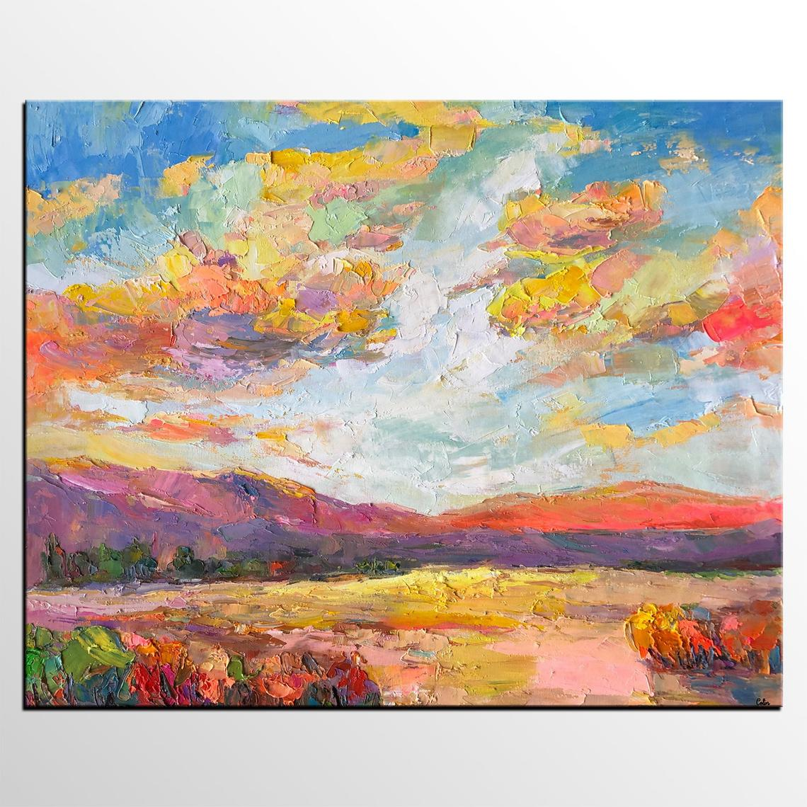 Mountain Landscape Painting, Sky Painting, Living Room Canvas Art, Oil Painting on Canvas, Buy Art Online