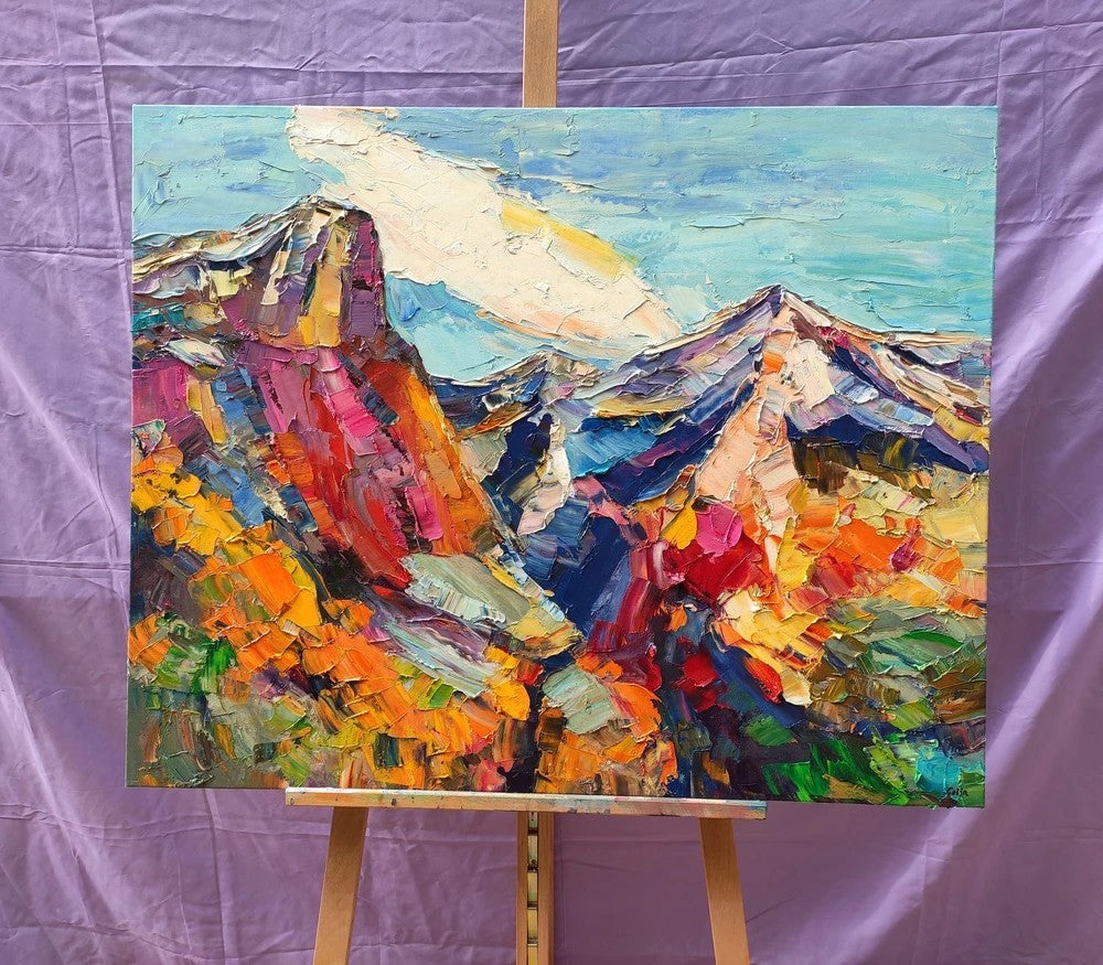 Abstract Mountain Paintings, Original Mountain Landscape Paintings, Hand Painted Canvas Art, Heavy Texture Artwork