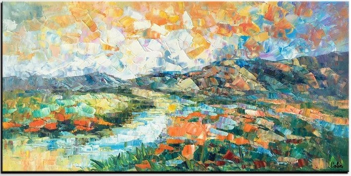 Mountain River Landscape Painting, Abstract Landscape Painting, Original Oil Paintings, Hand Painted Canvas Art
