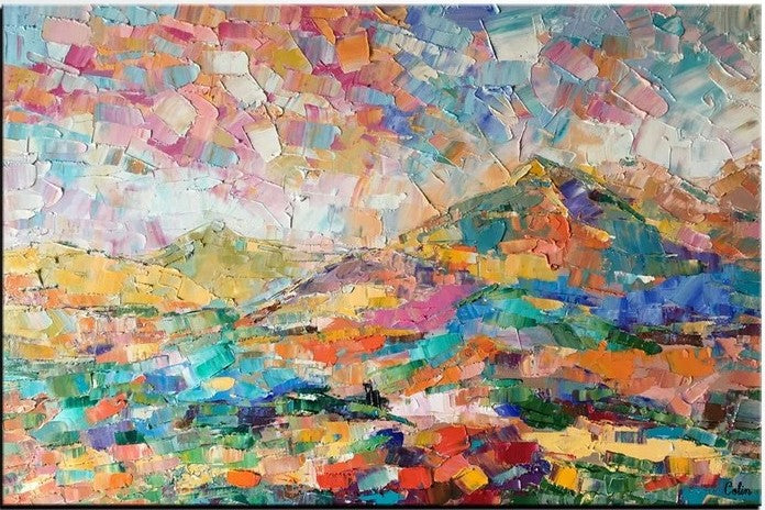 Abstract Mountain Landscape Painting, Original Oil Painting, Heavy Texture Art
