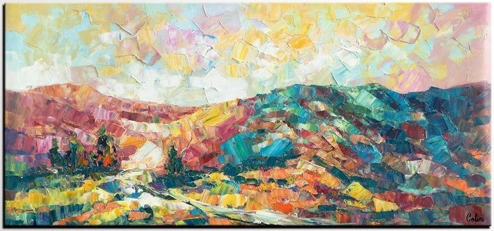 Mountain Paintings for Sale, Abstract Mountain Painting, Oil Painting on Canvas, Original Landscape Paintings, Large Painting for Sale