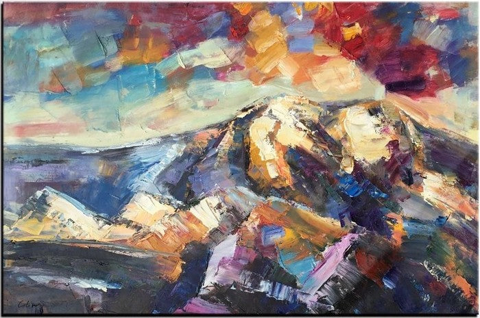 Oil Painting on Canvas, Mountain Paintings for Sale, Original Landscape Paintings, Abstract Mountain Painting, Large Painting for Sale