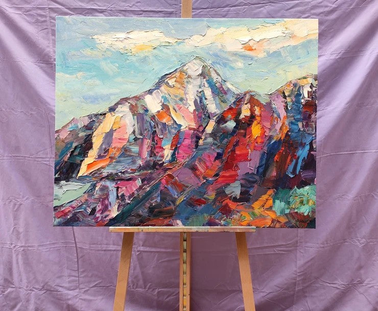 Original Landscape Paintings, Mountain Paintings for Sale, Abstract Mountain Painting, Oil Painting on Canvas, Large Painting for Sale