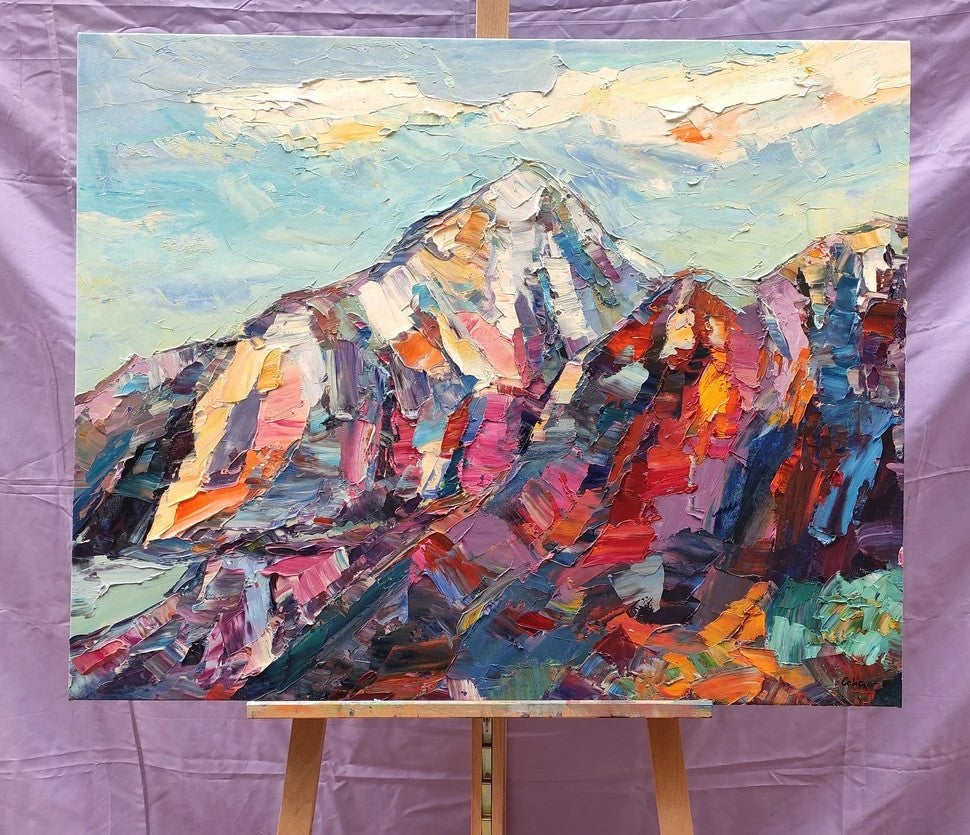 Mountain Paintings, Mountain Landscape Painting, Landscape Canvas Paintings, Heavy Texture Paintings, Oil Painting for Sale