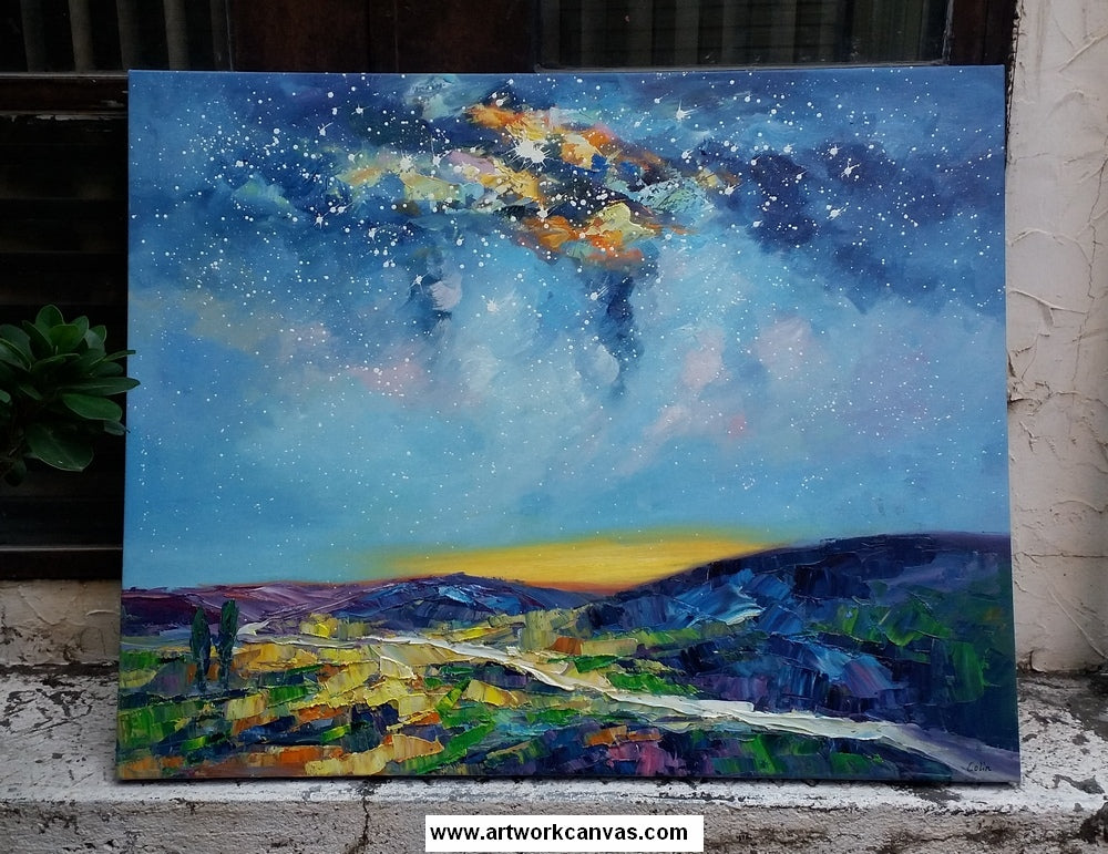 Starry night sky painting, abstract landscape art