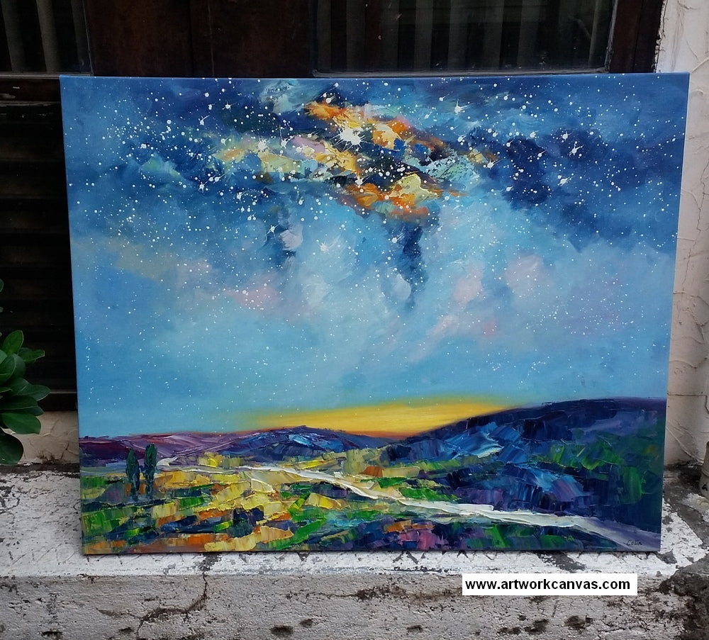 starry night sky painting, bedroom canvas art