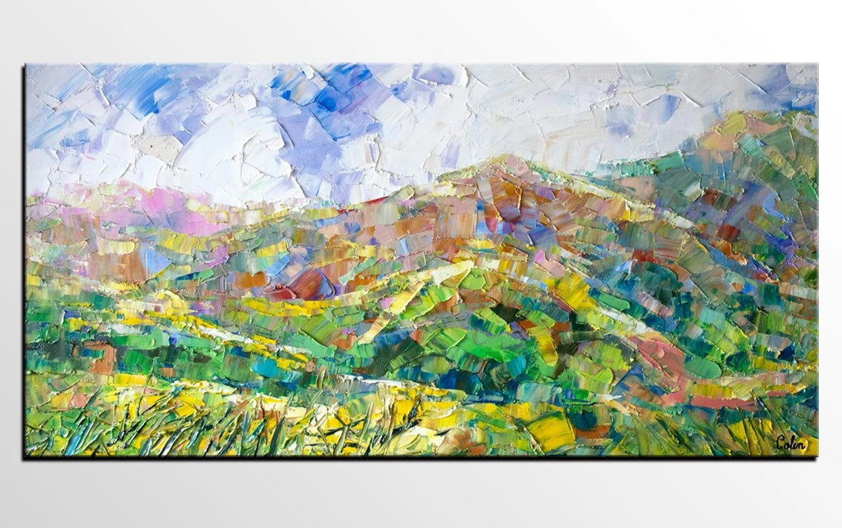 Abstract Landscape Painting, Landscape Painting for Living Room, Mountain Landscape Paintings, Palette Knife Painting, Landscape Canvas Painting