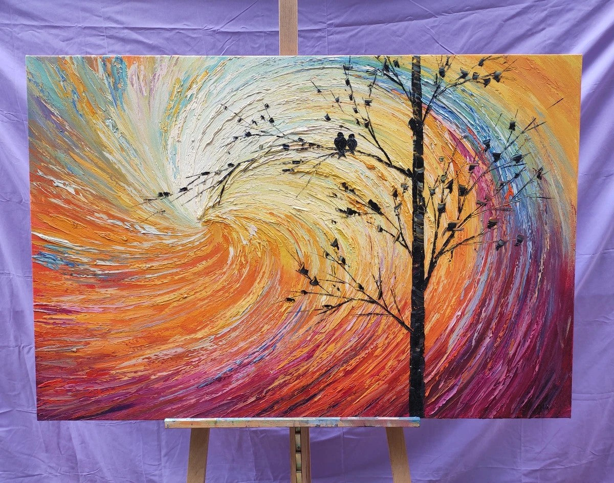 Love Birds Painting, Bird Paintings, Abstract Landscape Painting, Oil Painting on Canvas, Hand Painted Canvas Art, Oil Paintings for Bedroom