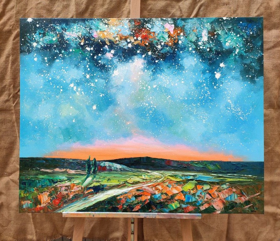 Starry Night Sky Painting, Landscape Canvas Painting, Oil Painting on Canvas, Modern Landscape Painting, Heavy Texture Painting