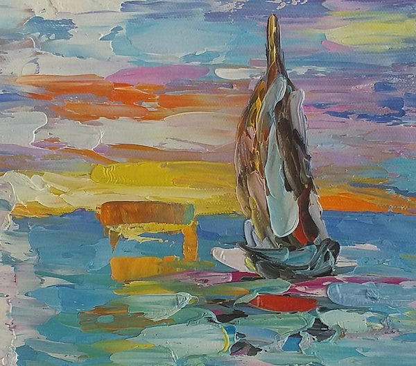 Original Art Painting, Canvas Painting, Small Heavy Texture Oil Painting, Sail Boat Painting