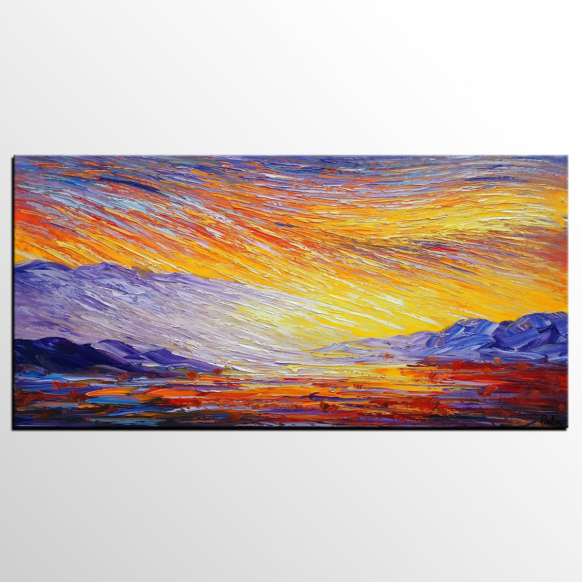 Abstract Landscape Painting, Large Canvas Art, Wall Art, Original Artwork, Modern Art