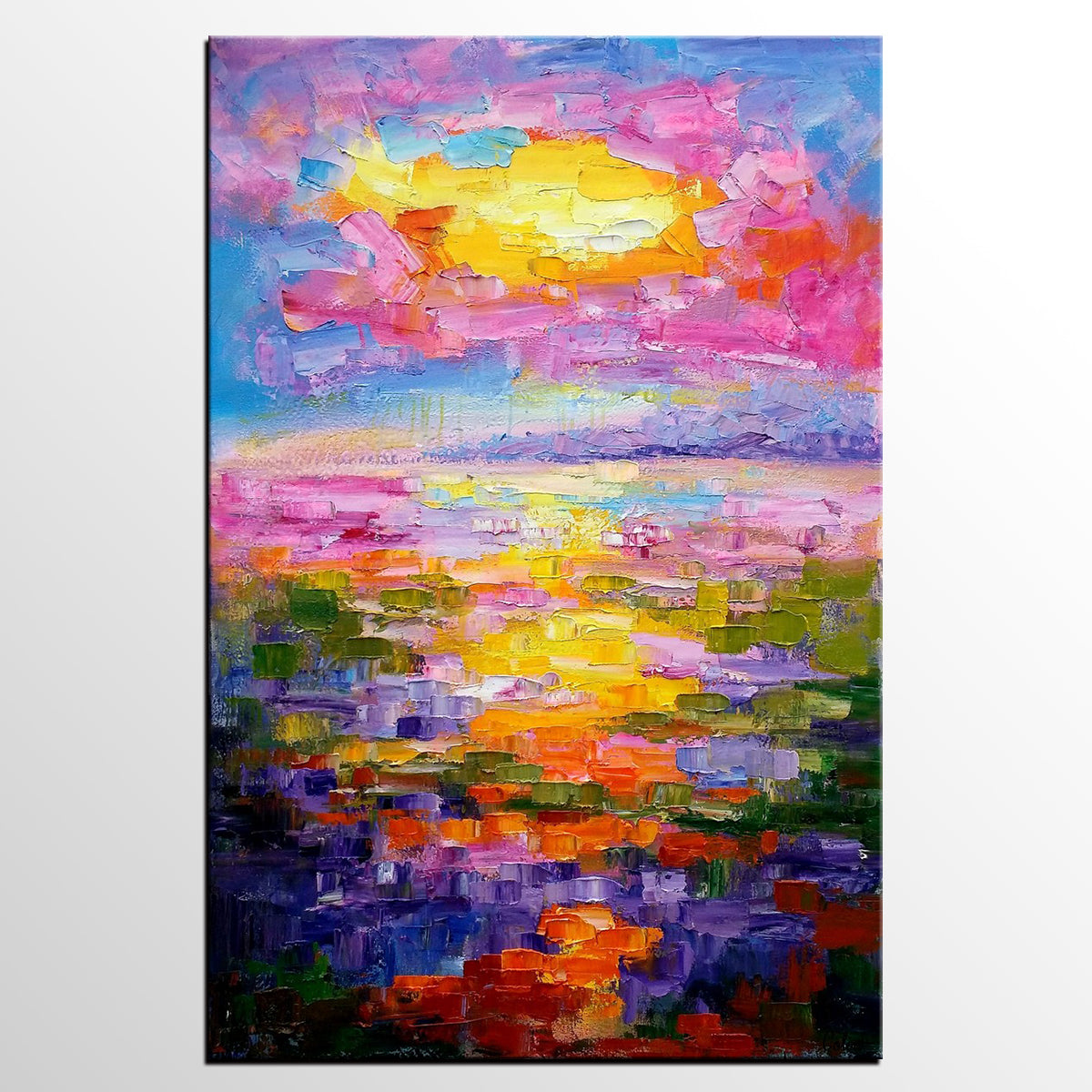 Living Room Wall Art, Large Painting, Abstract Landscape Painting, Large Art,  Canvas Part 61