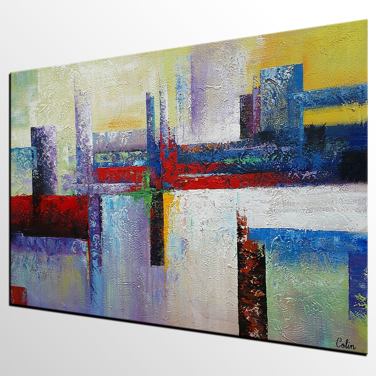 Wall Art Canvas Ready To Hang : Canvas painting large art wall original