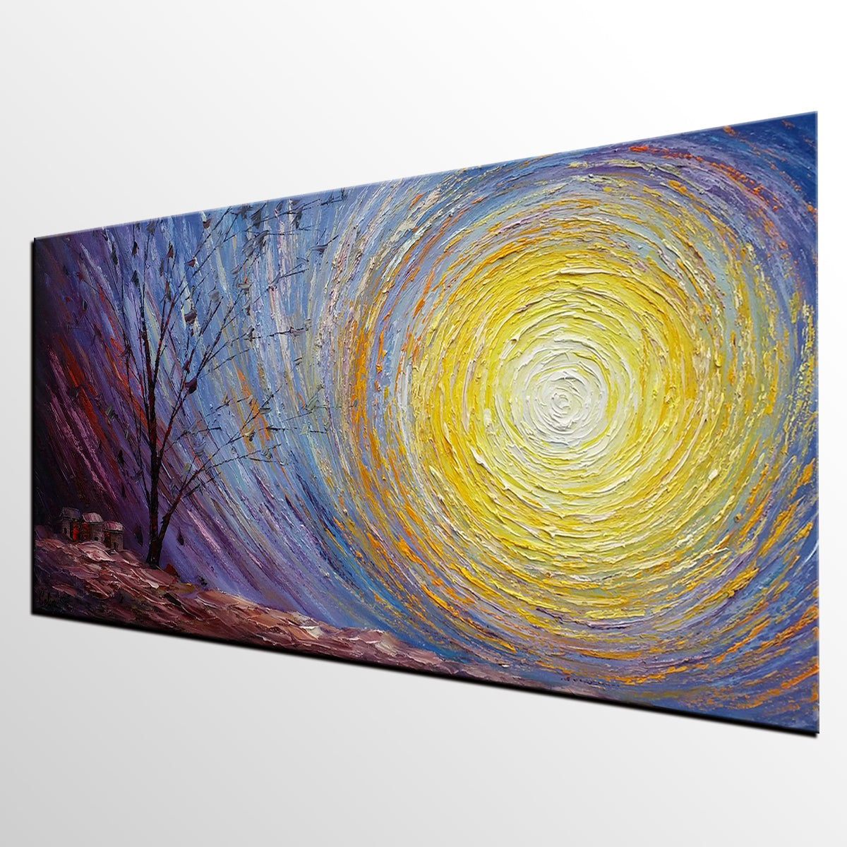 Tree Landscape Painting, Large Canvas Wall Art, Custom Modern Artwork, Heavy Texture Painting, Oil Painting - artworkcanvas