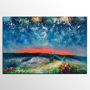 Canvas Painting for Living Room, Abstract Painting, Starry Night Sky, Abstract Painting for Sale - artworkcanvas