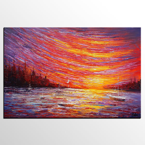 Landscape Painting, Large Art, Canvas Art, Wall Art, Custom Abstract Artwork, Canvas Painting, Modern Art, Oil Painting, Boat on the River 210 - artworkcanvas