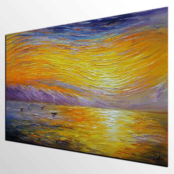 Landscape Painting, Abstract Art, Large Art, Canvas Art, Wall Art, Canvas Artwork, Canvas Painting, Modern Art, Boat Painting 218