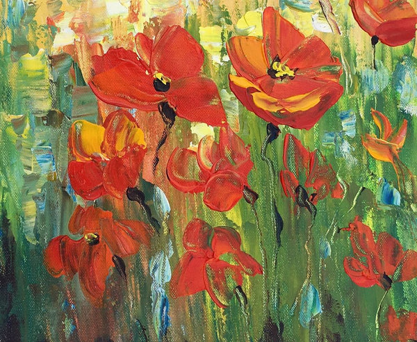 Red Poppy Field Painting, Small Painting, Heavy Texture Oil Painting, Abstract Painting - artworkcanvas