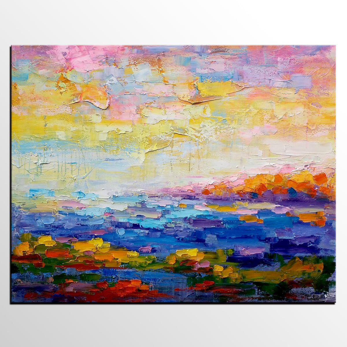 Oil Painting, Abstract Landscape Painting, Large Art, Canvas Art, Contemporary Artwork-artworkcanvas