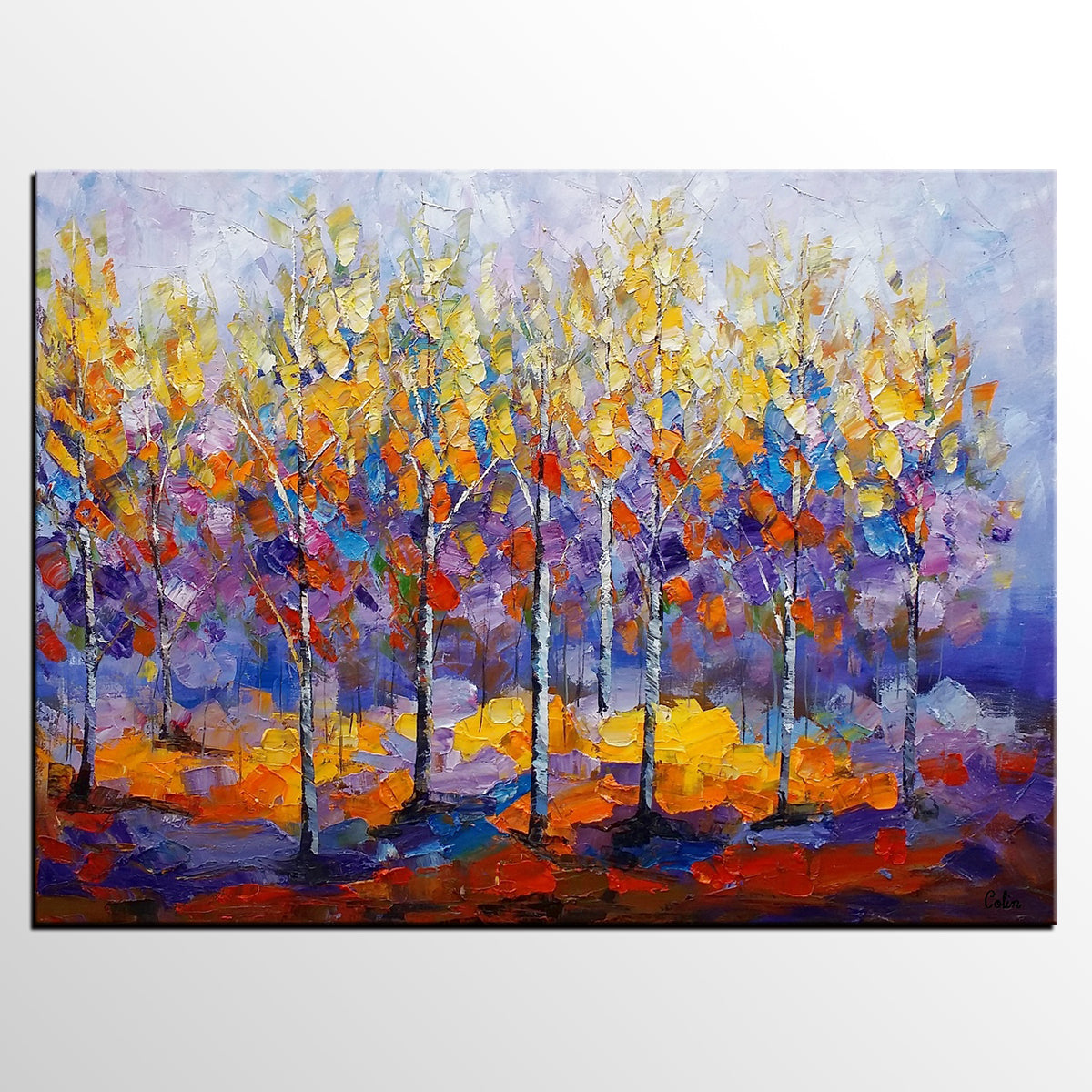 Forest Tree Painting, Abstract Art, Bedroom...