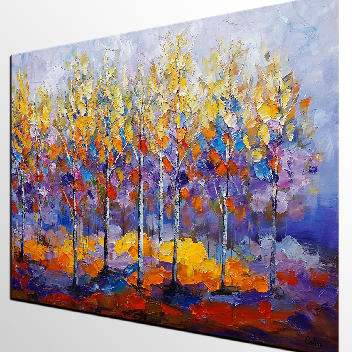 Forest Tree Painting, Abstract Art, Bedroom Wall Art ...
