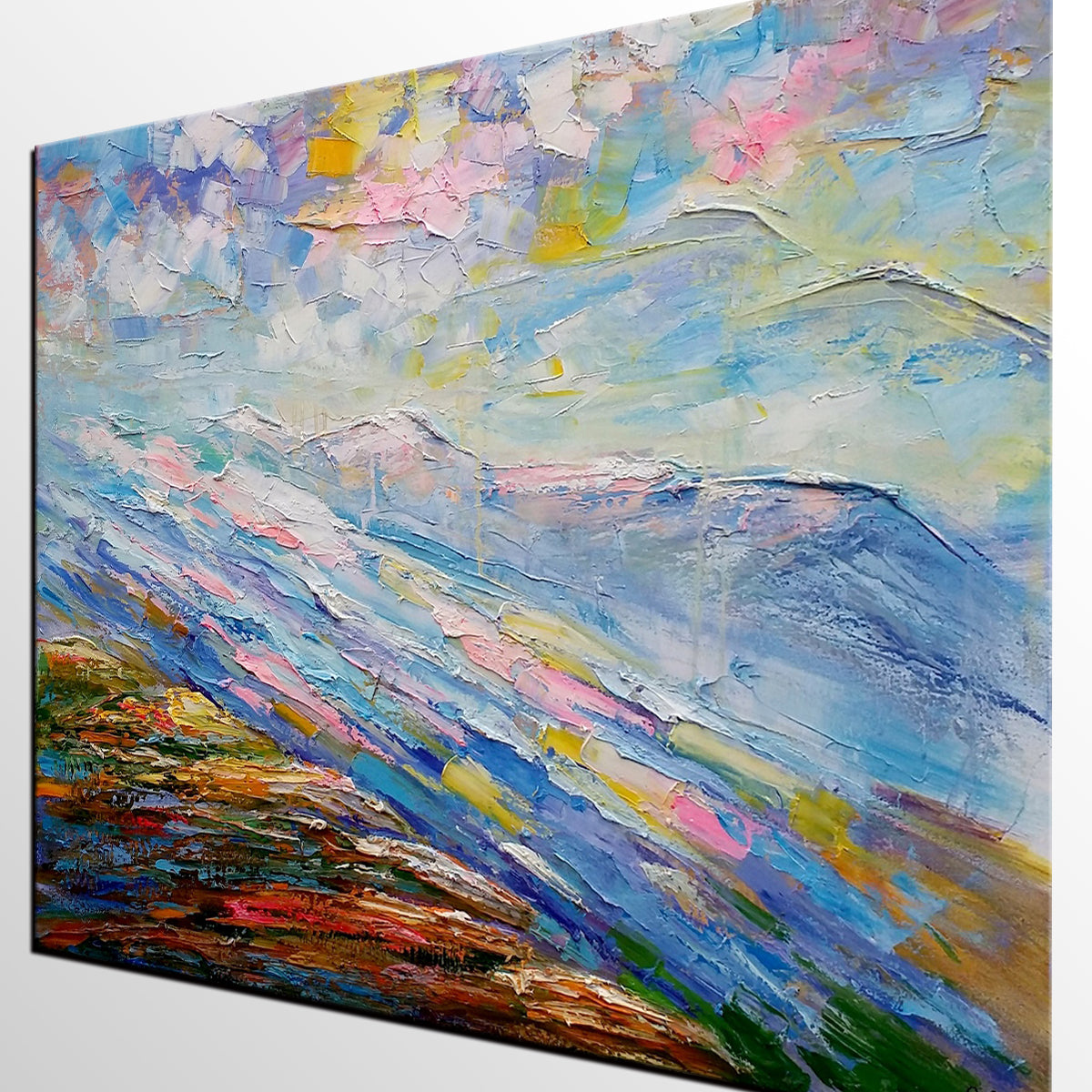 Mountain River Landscape Painting, Large Art, Canvas Art, Wall Art, Oil Painting, Canvas Painting, Abstract Art, Home Art 252