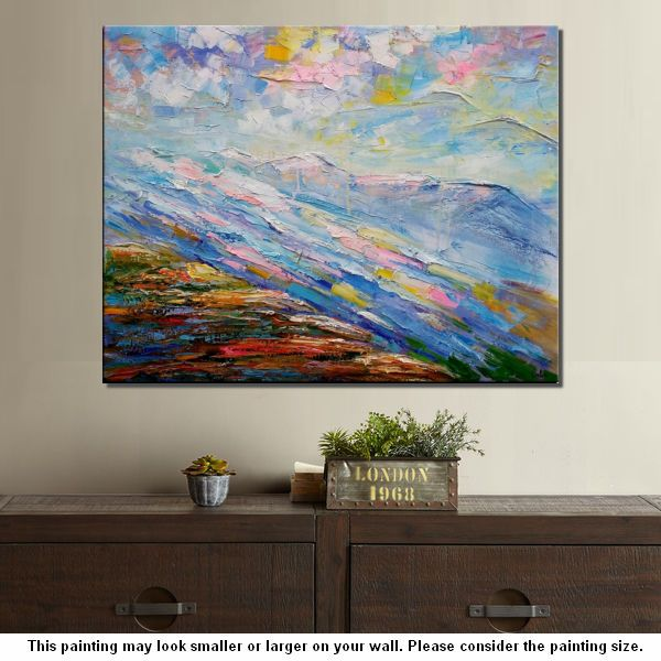 Mountain River Landscape Painting, Large Art, Canvas Art, Wall Art, Oil  Painting ...