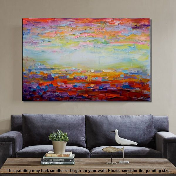 Canvas Painting, Living Room Wall Art, Abstract Landscape Painting, Large Art, Canvas Art, Wall Art, Abstract Artwork, Oil on Canvas 254 - artworkcanvas