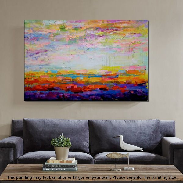 Living Room Painting, Original Wall Art, Abstract Landscape Painting, Large Art, Canvas Art, Wall Art, Contemporary Artwork 256