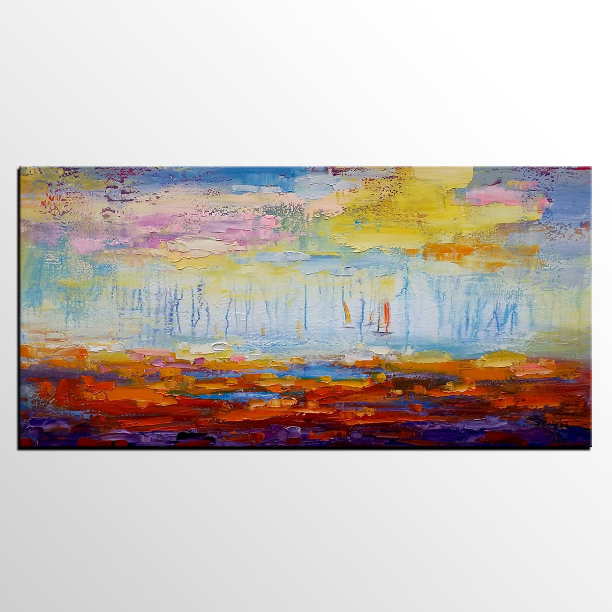 Abstract Wall Art, Landscape Painting, Canvas Wall Art, Abstract Artwork, Canvas Painting-artworkcanvas