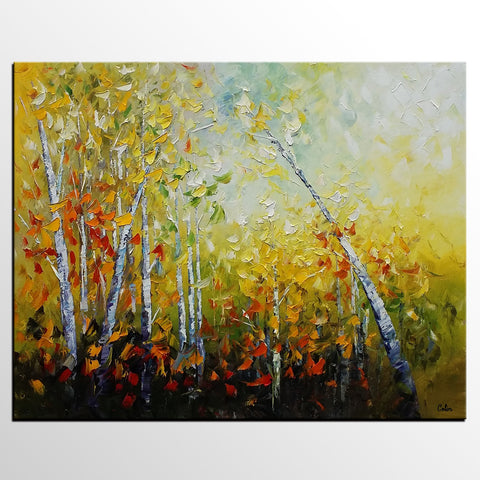 Abstract Autumn Painting, Autumn Tree Painting, Landscape Painting, Large Original Art, Canvas Art, Oil Painting - artworkcanvas