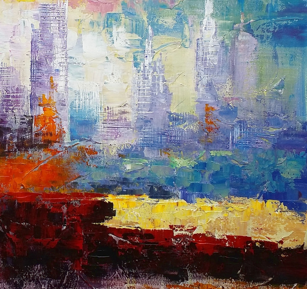 Original Painting, Abstract Wall Art, Cityscape Painting, Large Art, Canvas Art, Wall Art, Original Artwork, Canvas Painting 283