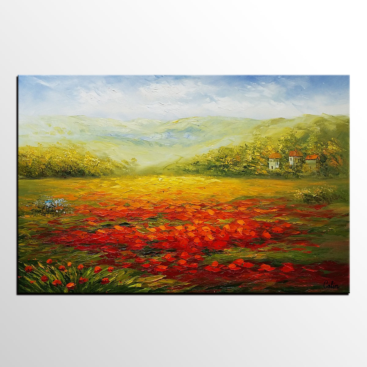 Poppy Field Painting, Landscape Painting, Large Art, Canvas Art, Wall Art, Original Painting, Canvas Painting, Oil Painting 291