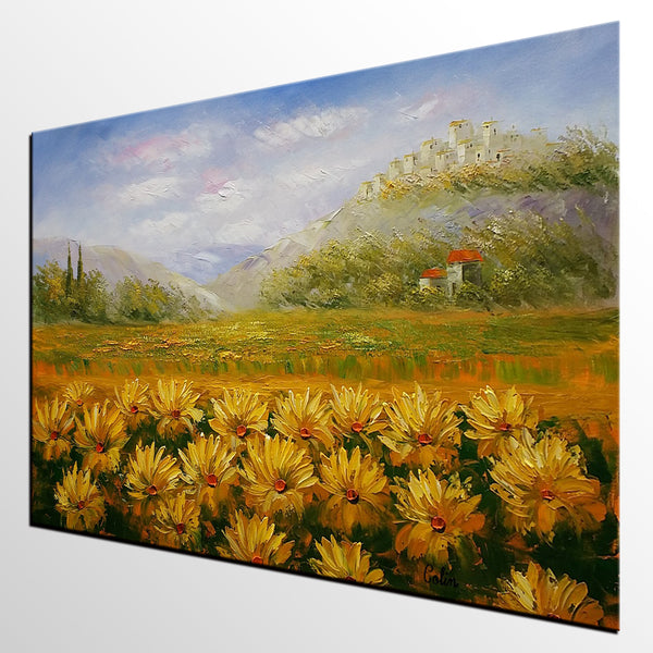 Landscape Painting, Oil Painting, Sunflower Painting, Large Art, Canvas Art, Wall Art, Original Artwork, Original Painting 298