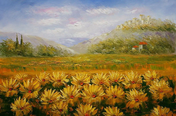 Landscape Painting, Oil Painting, Sunflower Painting, Large Art, Canvas Art, Wall Art, Original Artwork, Original Painting 298 - artworkcanvas