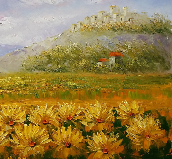 Landscape Painting, Oil Painting, Sunflower Painting, Large Art, Canvas Art, Wall Art, Original Artwork, Original Painting 298-artworkcanvas