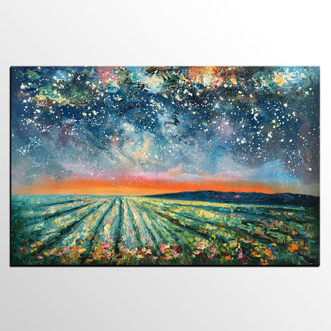 Abstract Art Painting, Starry Night Painting, Original Landscape Wall Art, Heavy Texture Art Painting, Contemporary Art-artworkcanvas