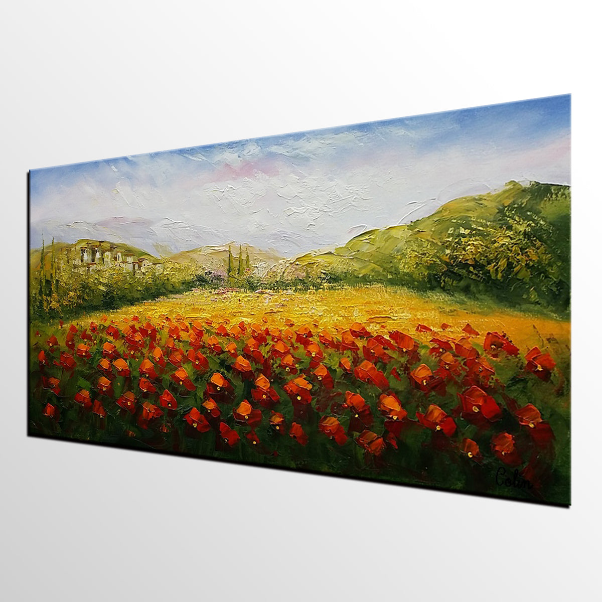 Red Poppy Painting, Original Wall Art, Landscape Painting, Large Art, Canvas Art, Wall Art, Original Artwork, Oil Painting 301