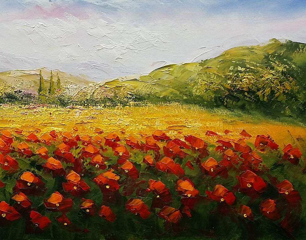 Red Poppy Painting, Original Wall Art, Landscape Painting, Large Art ...