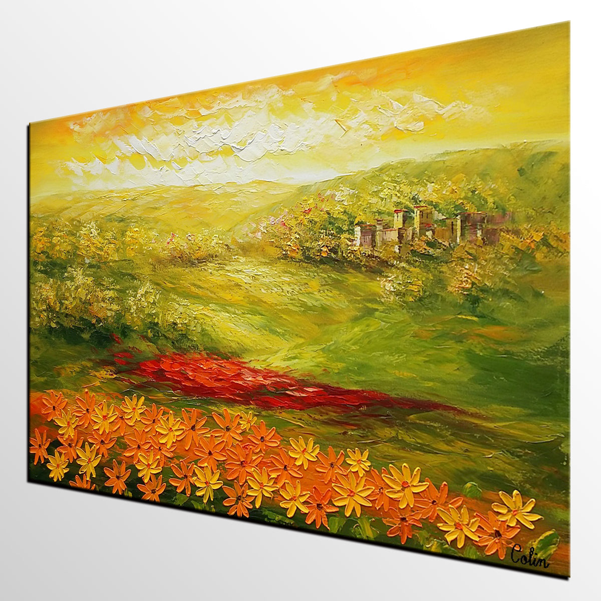 Landscape Painting, Sunflower Field Painting, Canvas Art, Wall Art